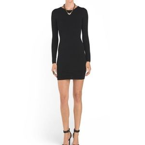 Torn by Ronny Kobo Nightengale Black Ribbed Dress